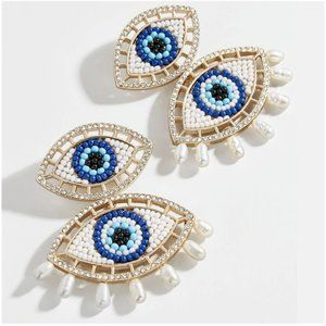 Gold Double Evil Eye Symbol Pearl Boho Earrings
